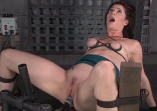 Small tits are tied up as guys fuck her face