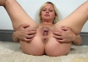 Cunt and clit rubbing blonde girl with lovely curves