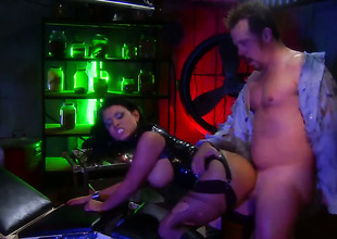 Bitch in black Eva Angelina gets hardcored at a bar