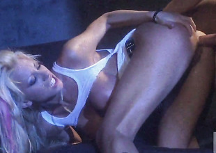Tanya James gets covered in cum after sex with hot dude