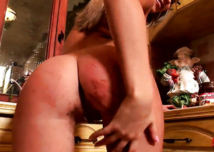 Golden-haired Cherry Jul with small marangos and trimmed bush cant stop playing with her vagina