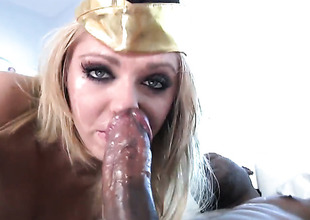 Jaelyn Fox feels intensive sexual desire while getting her face covered in cum