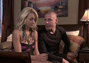Fine looking blonde Briana Blair in high heels gives stunning oral to her lover in the middle of a king size bed. They spend evening enjoying oral sex in the bedroom.