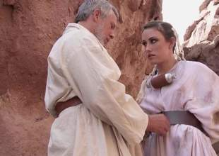 Charming babe Jennifer White with beautiful natural tits and shaved snatch receives naked and spread her legs in front of silver haired mature man for anal in outdoor scene from Star Wars XXX parody