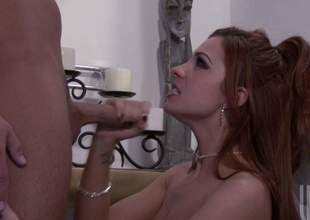 Redhead babe Kirsten Price is going to ride that big bad ding dong in the bathroom. She really can not get enough of her husbands pecker. Talk about a nympho wifey