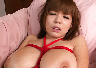 Milf Airu Oshima with gigantic jugs stripping down to her stripped skin