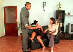 Naughty boss calls his office secretaries for a hardcore threesome throbbing