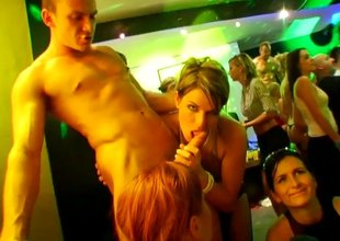 Wild babes getting fucked though glory holes and at a party
