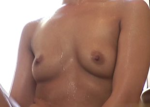 Long haired Asian gives a great massage and blowjob
