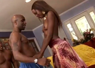 Skinny nympho Adrianna Davis takes on two cocks at once