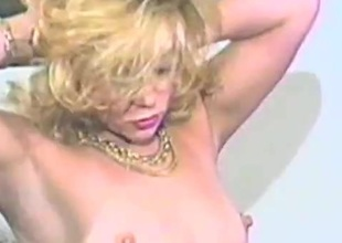 Eager blond milf sucks a cock then rides it hardcore in an epic retro episode