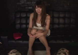 Long haired Asian cutie enjoys toying her pussy and using sex toy