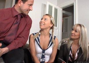 Lewd pair seduces a cute teen to have a threesome