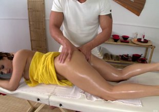 He finished off her massage with a hard ass fucking