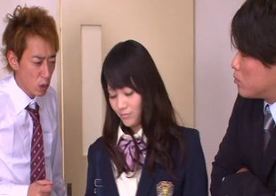 Eager Japanese college gal loves engulfing and riding a hard boners