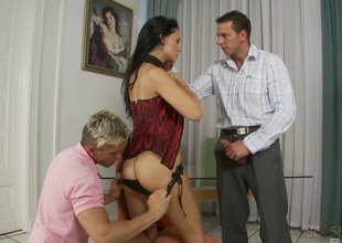 Lecherous brunette gets her legs up for a thorough nailing take two scene.