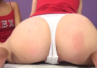 Salacious babes get soaked toying ahead a hardcore pounding in pov