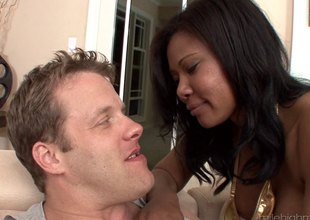 Large tit ebony honey acquires a rough fucking from a white guy