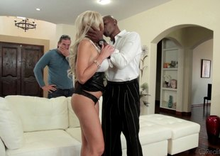 Blonde gets a mouthful of a giant black throbber in pov pending hardcore fucking