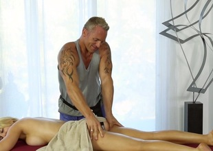 Busty golden-haired gets intimate with the horny masseur