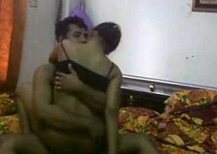 Dark skin Desi hot wife rides her husband on camera