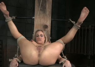 Curvy whore Angel Allwood is brutally toy fucked in BDSM porn clip