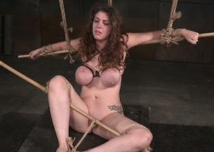 Gorgeous and breasty lady Samsara tortured by a black master