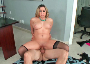 Gracious golden-haired MILF with gigantic tits receives a big dick