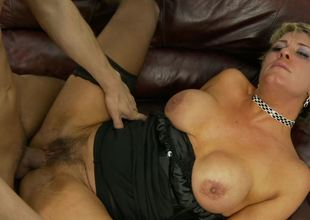 Hairy mom Chloe Wilder and a young jock get it on