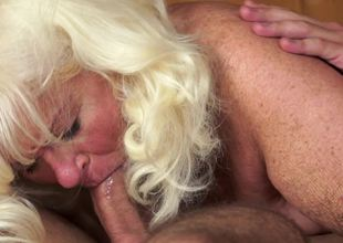 A fat old playgirl is drilled in the sauna by a large young stud-horse