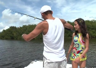 Young Amia Miley catches a huge male jock instead of fishing!