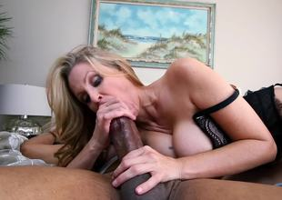 Marvelous MILF blondie needs a huge black dick in her shaved twat