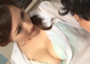 Lusty Japanese teacher Julia enjoys licking and banging