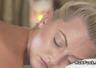 Sexy golden-haired gets creampie from masseur