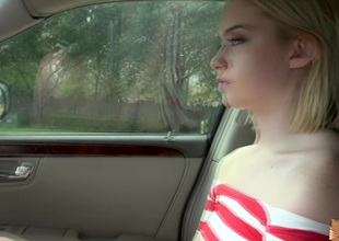 Virginal blonde chick Chloe Couture gets picked up and group-fucked in the car