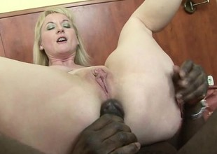Hot blonde cougar gets her gaping holes stuffed with black meat