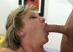 Luscious mature blond gets picked up on the street and fucked hard by 2 guys