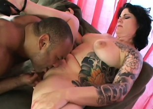 Tattooed slut Michelle loves a large cock to eat and pump her like crazy