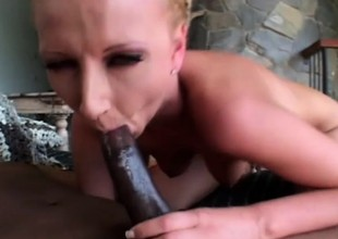 Blonde hottie Tracey has a hung black guy hammering her juicy holes