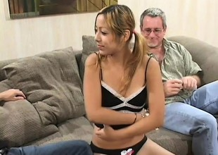 Merry little Kat gets likewise good of an suggest and fucks two old dudes for cash