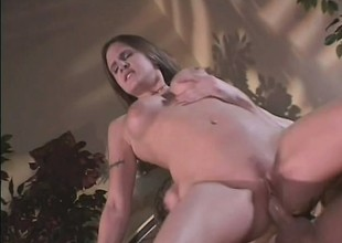 Nevaeh Ashton bares her astounding tits and bounces on huge poker