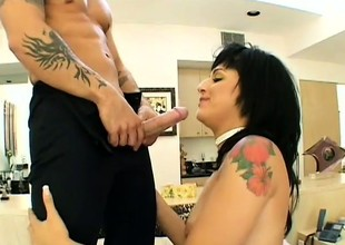 Latin sweetheart sucks his cock to make him hard then rides his dick