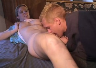 Luscious blonde college babe Holie Stevens has her boyfriend fucking her juicy vagina