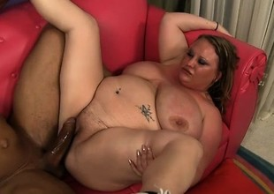 Chunky blond lady seizes the chance to have a huge black cock drilling her peach