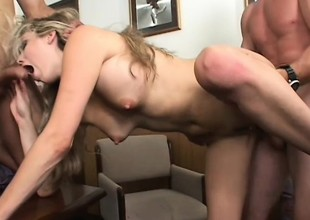 Wicked blonde secretary with big pointer sisters fulfills her office fantasies with two guys