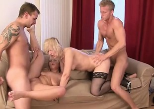 Strumpets Samantha, Cathy and Evelina have a hot interracial orgy with DP