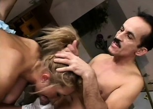 Dreamboat busty blondie lets two masked wrestlers sandwich her