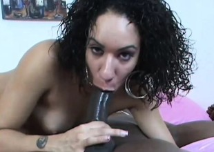 Curly haired brunette takes his big black unfathomable in and gets hammered