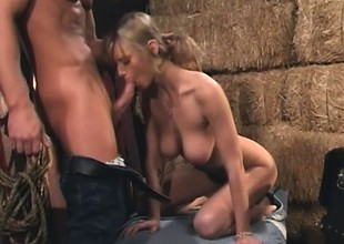 Slim blonde moans whilst bouncing on a fat meat stick in the barn