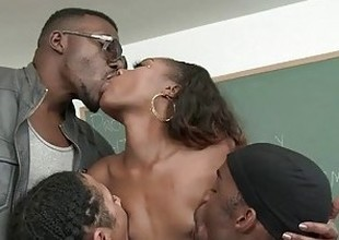 Chanell Heart Is Treated Like The Classroom Slut By Several Big Black Dongs